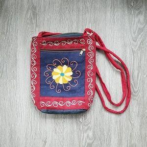 Handbags - Blue and red suede shoulder handbag